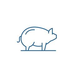 pig line icon concept pig flat symbol vector image