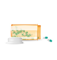 pills are spilling out of a bottle realistic vector image