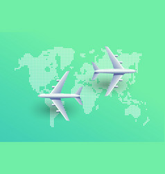 planes over world map airlines top view vector image