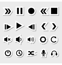 Player Icons Set as Labels vector