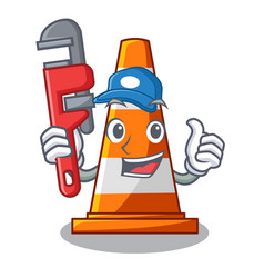 plumber on traffic cone against mascot argaet vector image