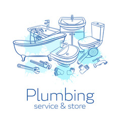 Plumbing service banne vector