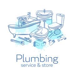 plumbing service banne vector image