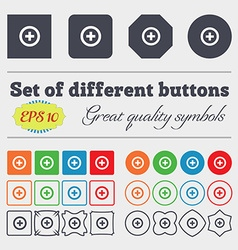 Plus Positive icon sign Big set of colorful vector image