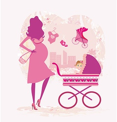 Pregnant woman pushing a stroller abstract vector