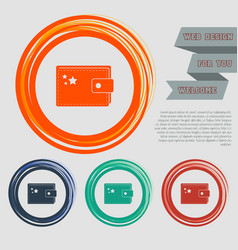 purse icon on the red blue green orange buttons vector image