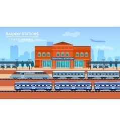 Railway station flat background vector image