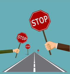 road signs stop vector image