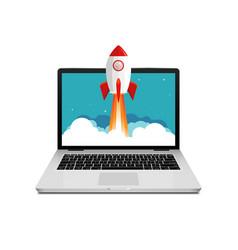 Rocket launch website computer concept vector
