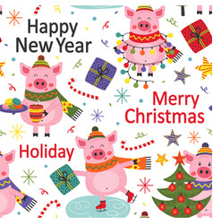 seamless pattern happy new year pig vector image