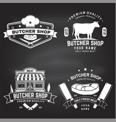 Set butcher shop badge or label with cow beef vector