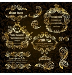 set gold frame and vintage design elements vector image