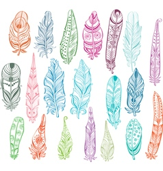 Set of color feathers in native style vector