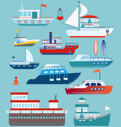 set of flat yacht boat cargo vector image