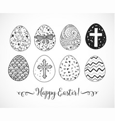 set of hand-drawn ornated easter eggs on white vector image