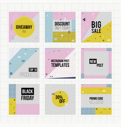 set of trendy geometric elements memphis cards vector image