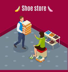 shoe store isometric background vector image