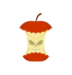 skull apple core isolated death rest of fruit on vector image