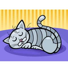 Sleeping cat cartoon vector