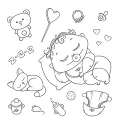 sleeping child and kitten hygiene items baby vector image