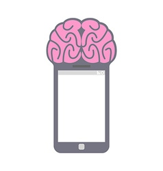 Smartphone Smart phone with brain Fantastic vector image