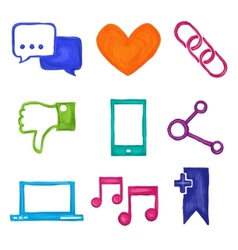 Social media icons painted vector