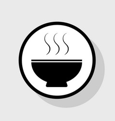 soup sign flat black icon in white circle vector image