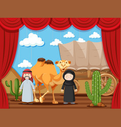 Stage play with two people playing arabs in desert vector