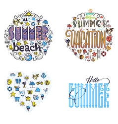 Summer beach and vacation set summer colored vector