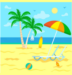 summer beach with palm tree and seascape views vector image