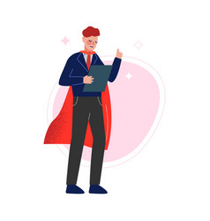 Super man in red waving cape raising up his finger vector