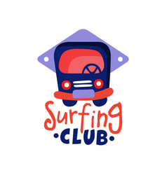 surfing club logo windsurfing retro badge vector image