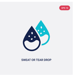 Two color sweat or tear drop icon from human body vector
