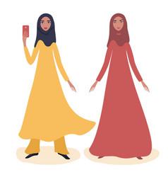 two happy young arabic girls full length portrait vector image