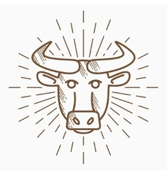Vintage bull head Hand drawn sketch vector