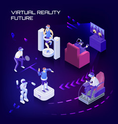 Virtual reality future isometric background vector