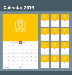 Wall calendar for 2019 year design print template vector