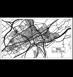 Wels austria city map in black and white color vector