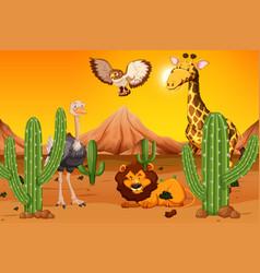 Wild animal at desert vector