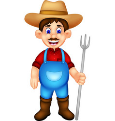 handsome farmer cartoon standing bring fork vector image vector image