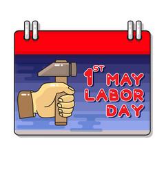 Labor day hand and hammer cartoon vector