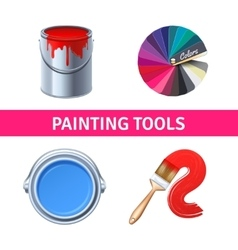 Painting Tools Realistic Set vector image
