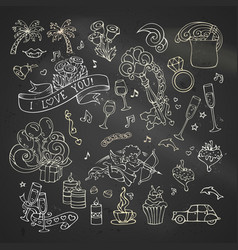 Chalk set of love icons and signs vector