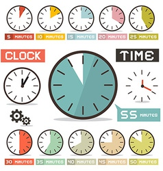 Clock Set in Flat Design Style vector image