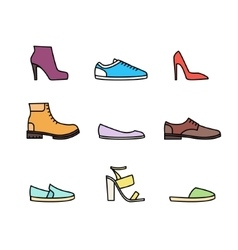 Color linear shoes icon set vector image vector image