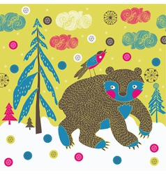 forest animals screenprint vector image vector image