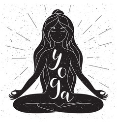 black and white yoga poster with lettering vector image vector image
