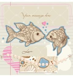 fish kiss vector image vector image