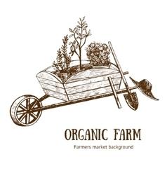 Garden Cart Organic Farm Hand Draw Sketch vector image