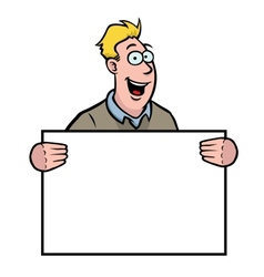 man holding a sign vector image vector image